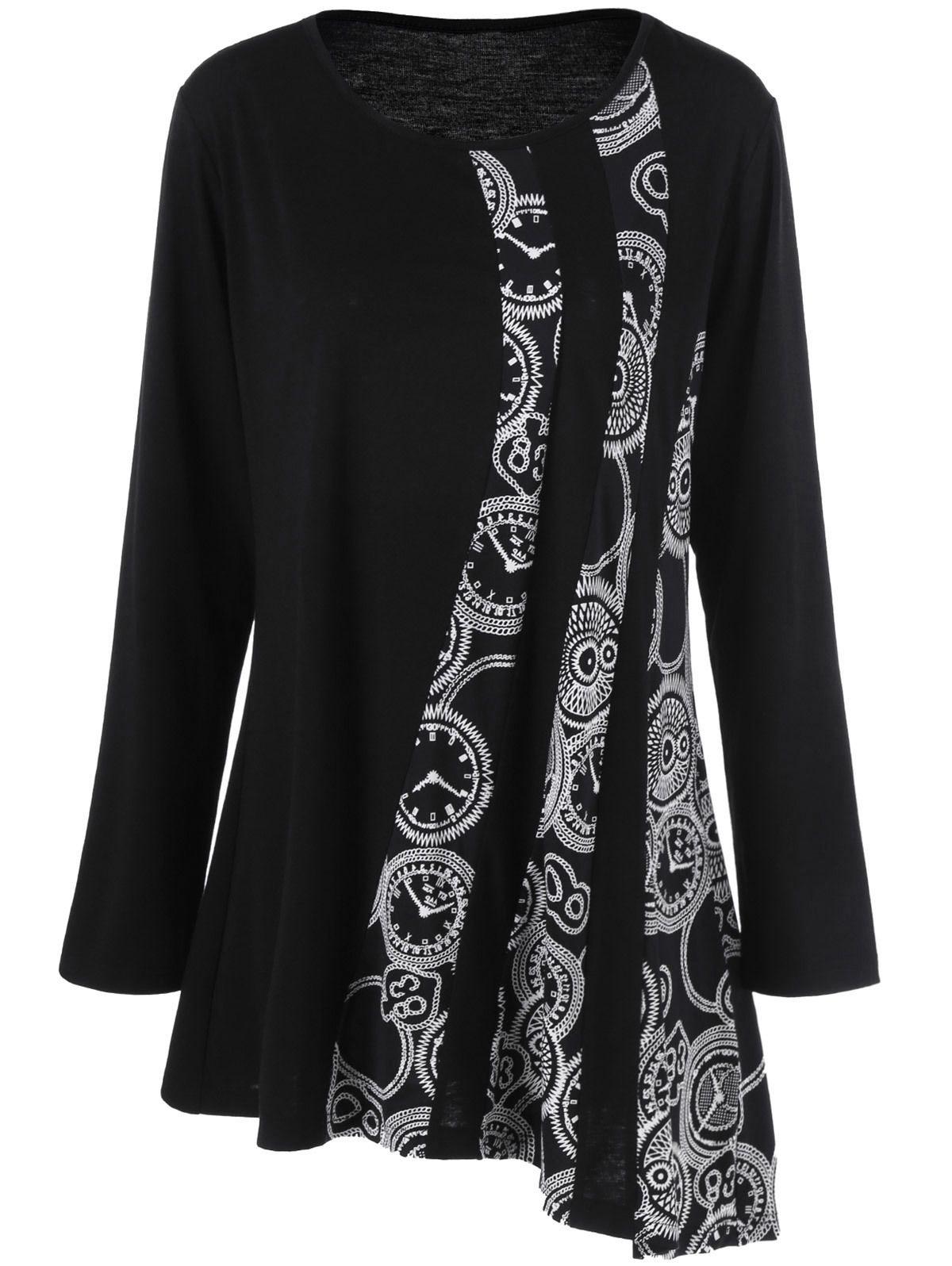 e3ac3eca351 Gamiss Plus Size 5XL Printed Asymmetric Tunic T Shirt Women Autumn 2017  Long Sleeve Asymmetrical Tops Tees Black T Shirt Y1891307 T Shirt Site  Online Tees ...