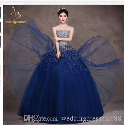 20c1377198c20 Satın Al Bealegantom Kraliyet Mavi Quinceanera Elbise Balo 2018 Boncuklu  Kristal Lace Up Tatlı 15 16 Elbiseler Vestidos De 15 Anos QA1097, $180.91 |  DHgate.