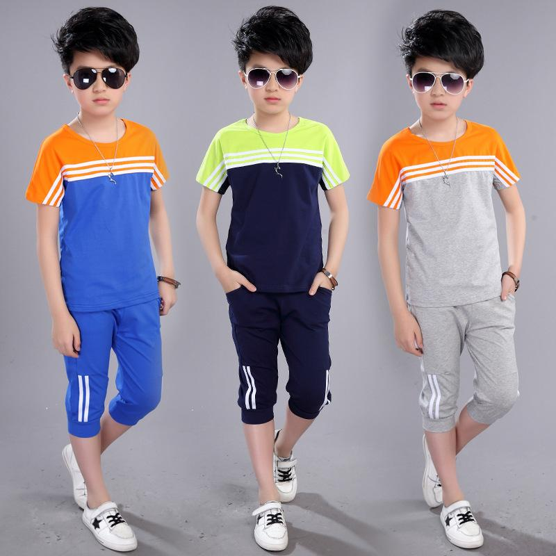 cbf4c4e28 2019 Boys  Summer Suit New Children Short Sleeved T Shirt +Pant ...
