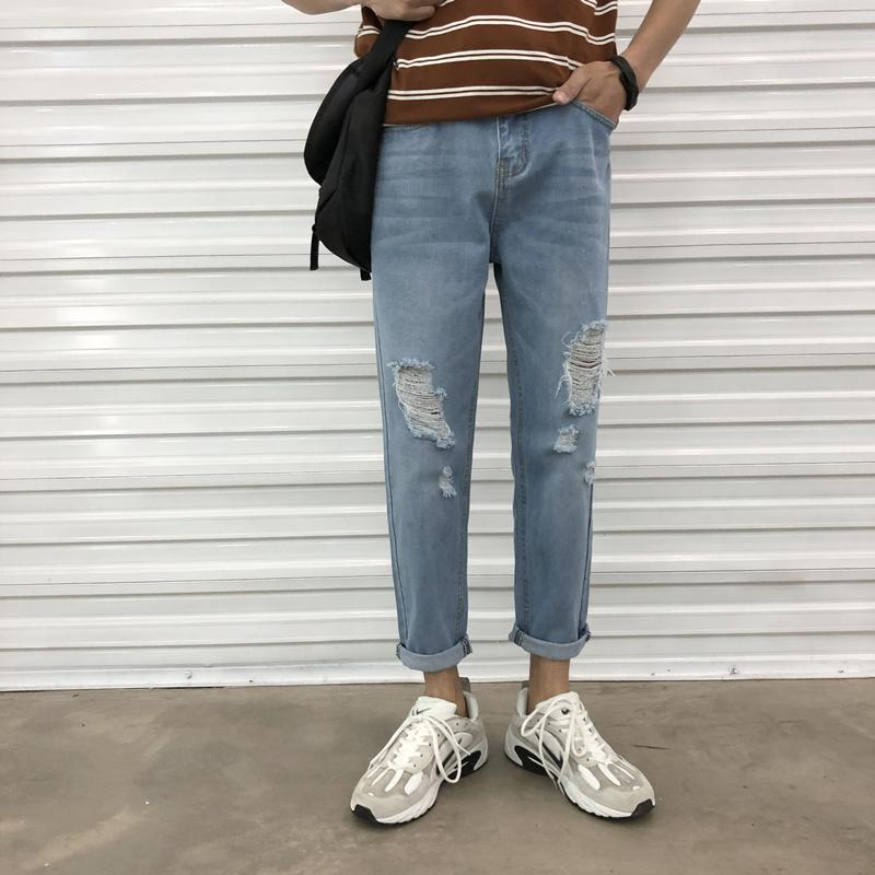 95923b12ef9 2019 2018 Korean Style Men S Fashion Trend Blue Holes Beggar Cowboy Casual  Pants Stretch Slim Fit Homme Jeans Denim Trousers 27 36 From Sadlyric