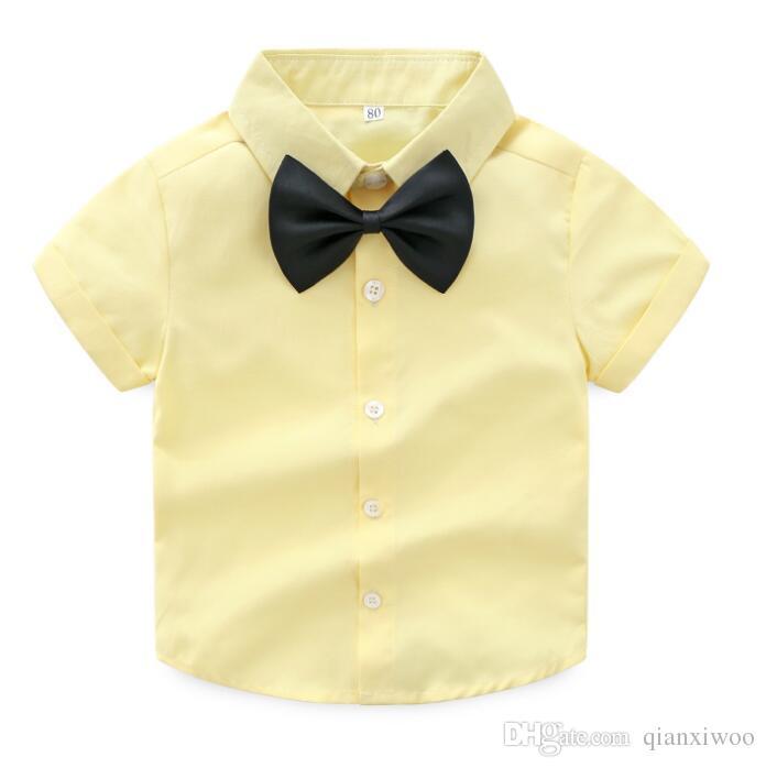 جديد الصيف طفل الفتيان مجموعة gengleman الاطفال القوس التعادل قصيرة الأكمام قميص + حمالة السراويل 2 قطع الصبي ملابس تناسب الأطفال وتتسابق w176
