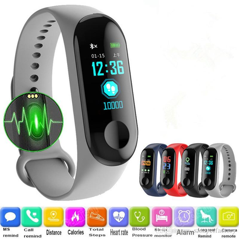 Smartbands Sports Bracelet Heart Rate M3c Bracelet Wristband Fitness Tracker Blood Pressure Monitor Android Ios Pk Mi Band 2 3 Men's Watches Watches