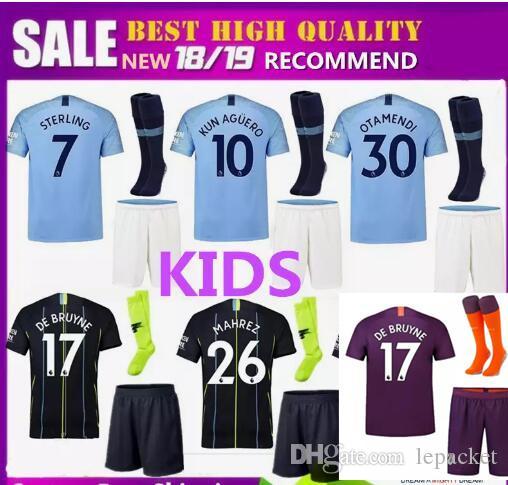 4dfcccbd5 Kids Kits 2018- 2019 Manchester City MAHREZ KUN AGUERO DZEKO Soccer ...