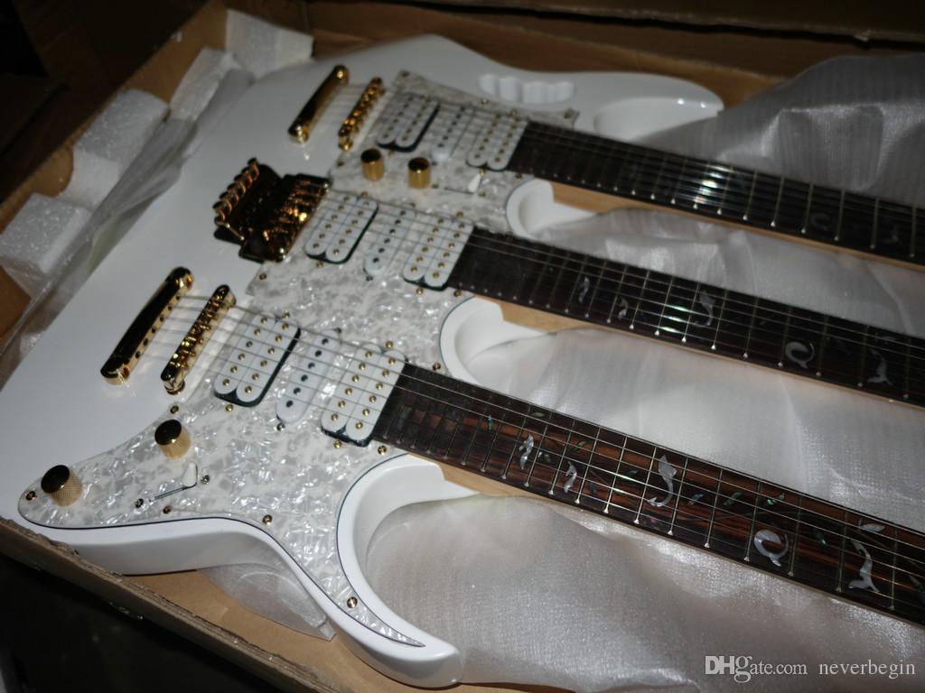 Groothandel - Nieuwe Mint White Golden Gear Triple Neck 6/6/12 Elektrische gitaar uit China Geen enkel geval