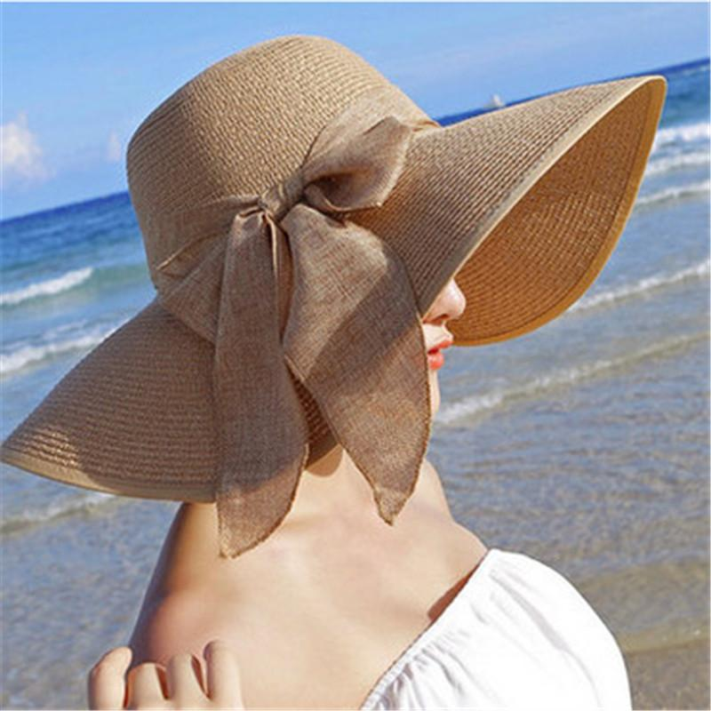 Summer Sun Hats For Women Large Brim With Ribbons Bow Beach Hat Cap ... cfc2a85e3d4