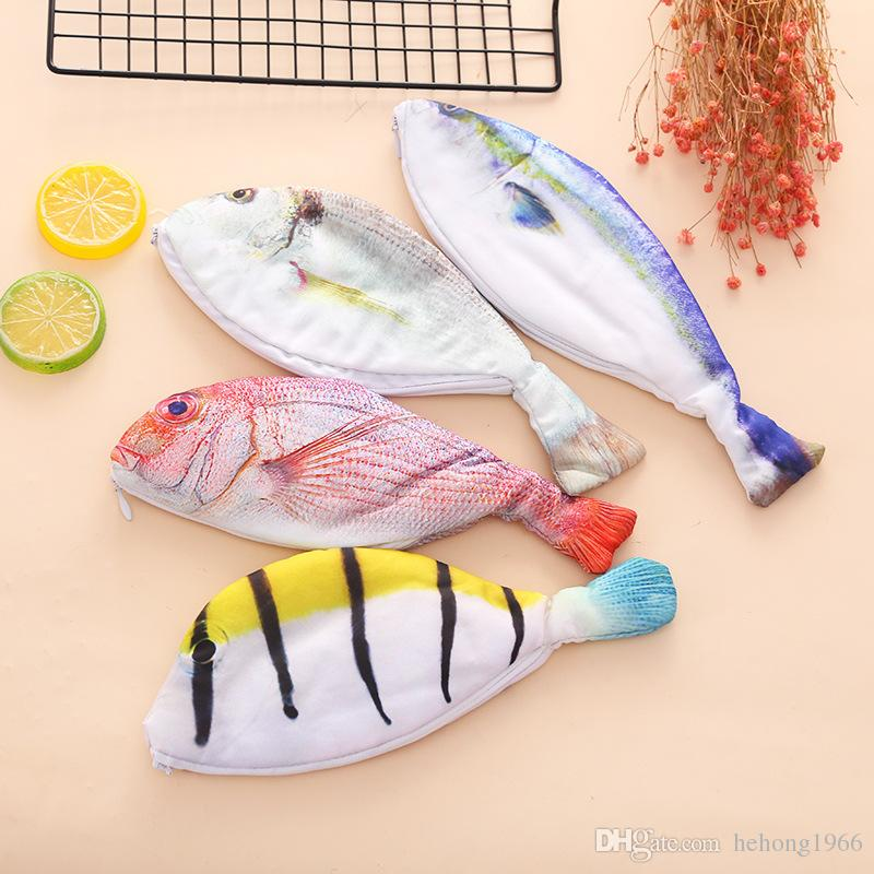 Creative High Capacity Pen Bag Student Stationery Gift Fresh Simulation Salted Fish Design Pencil Case Multi Style Choose Hot Sale 8jm Z