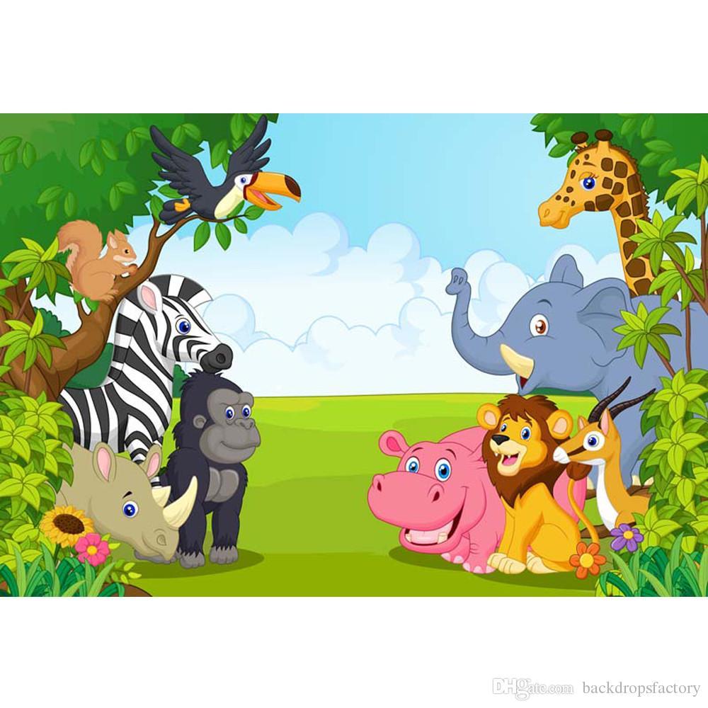 Grosshandel Cartoon Tiere Kinder Happy Birthday Hintergrund Gedruckt Blauer Himmel Baume Blumen Neugeborenes Baby Party Photo Booth Hintergrunde Von