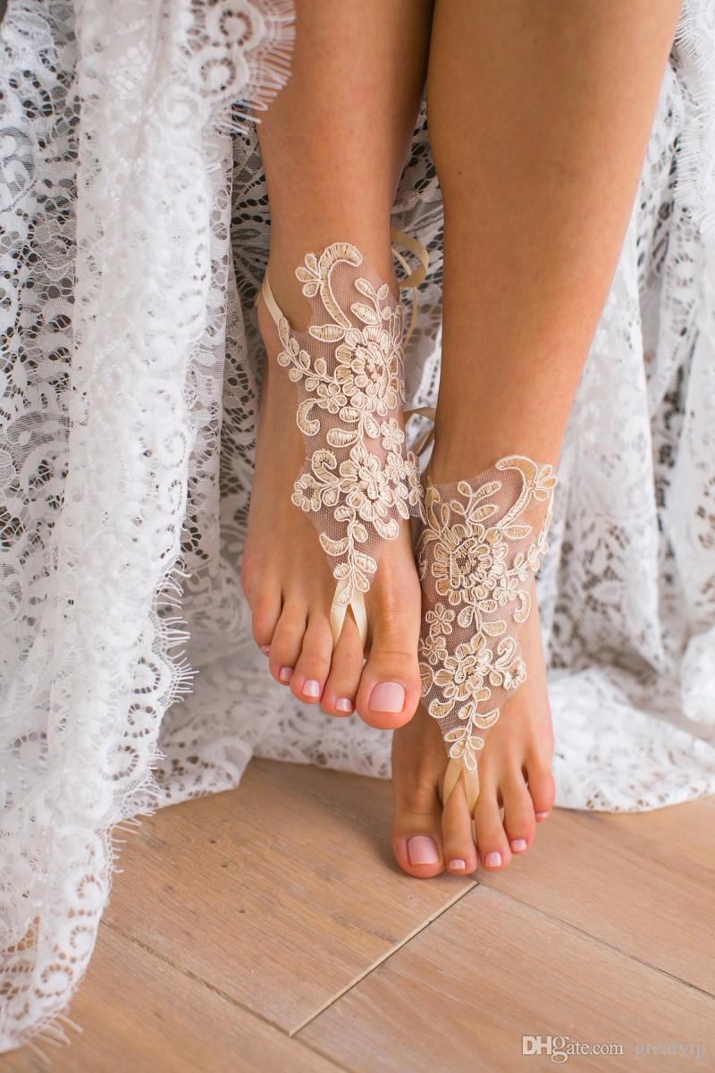 fb7339d8189b0 2019 Women S Elegant Net Flower Lace Beach Wedding Barefoot Sandals Anklet  Chain Cheap Custom Made Bridal Bridesmaid Jewelry Foot Dress For Bridal  Dresses ...