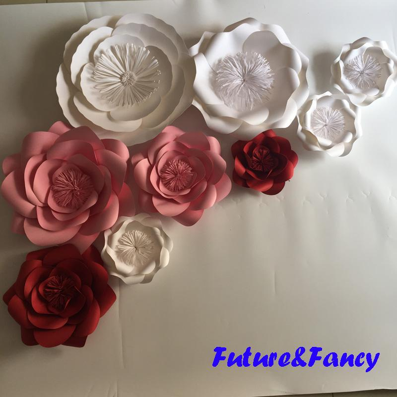Set Mix Colors Giant Paper Flowers For Wedding Backdrops Bridal
