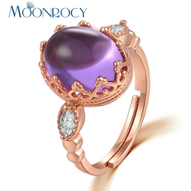 MOONROCY Cubic Zirconia Rose Gold Color CZ Crystal Purple Opal Ring Oval Jewelry Wholesale for Womens Rings Girls Drop Shipping