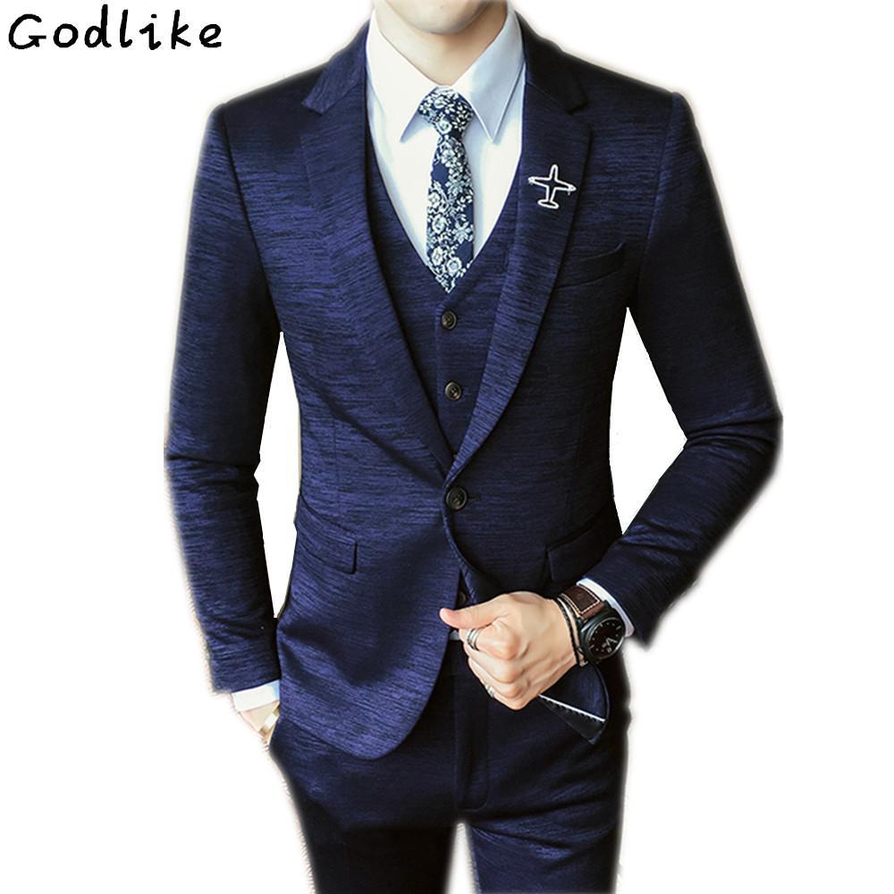 e3d89735d766 Acquista Abito Su Misura Da Uomo Vestito Da Tailleur Vestito Da Completo  Blu Navy Vestito Da Uomo Slim Smoking Smoking Grigio Giacca + Pantaloni +  Gilet A ...
