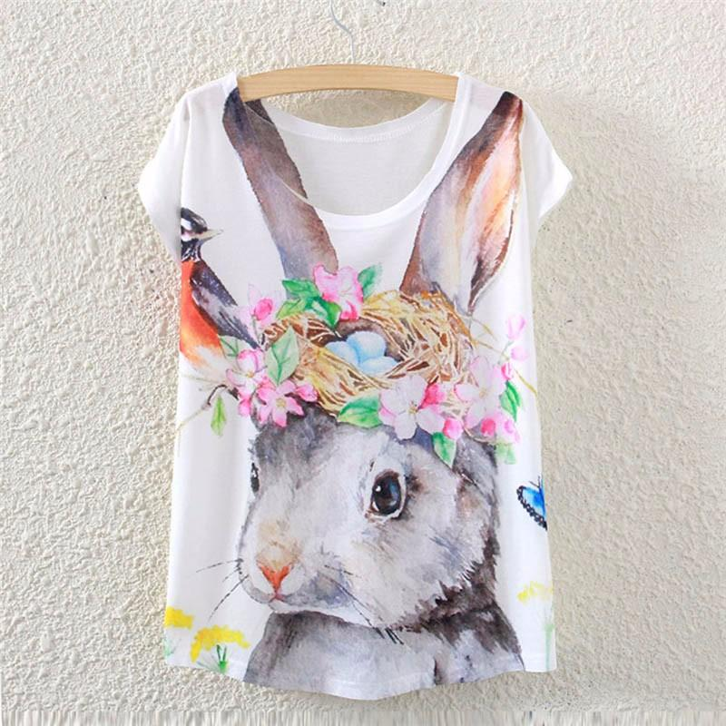 6ddfbbcb 2017 Brand New Polyester T Shirt Women Short Sleeve T Shirts O Neck Causal  Loose Rabbit Nest T Shirt Summer Top For Women Tie Shirts Latest T Shirt  Designs ...