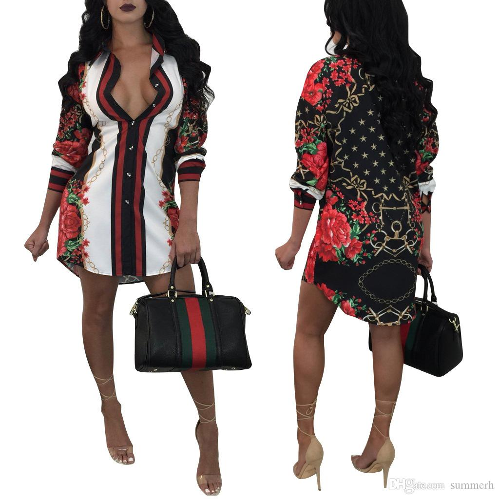 2018 autumn and winter plus size European and American fashion printing shirt multicolor women's clothing
