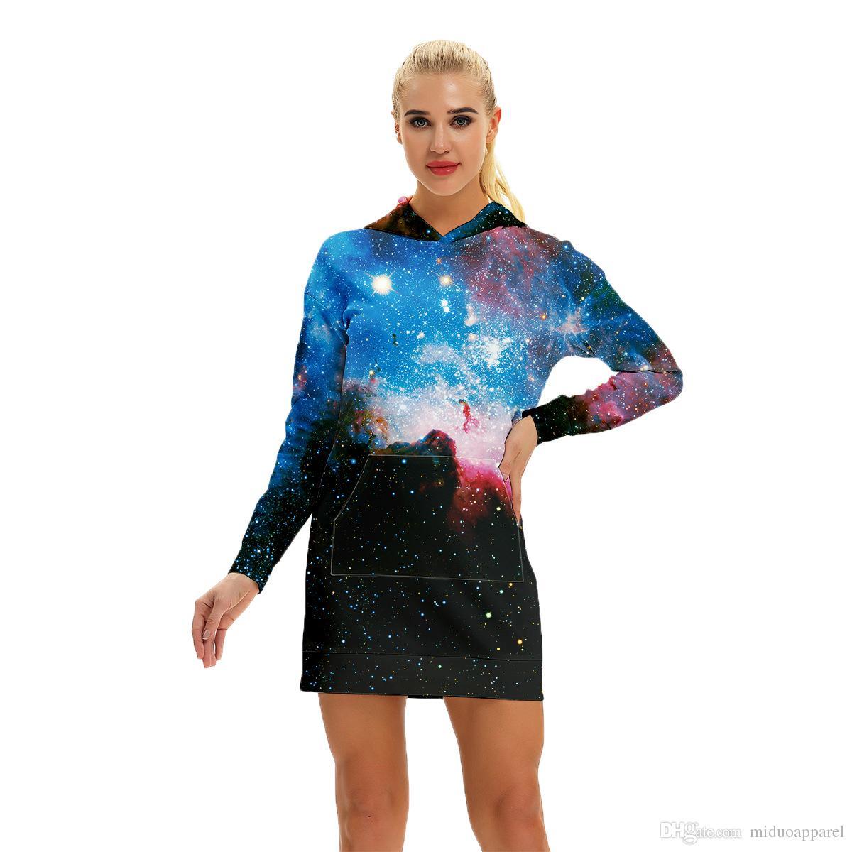 accd14d0f19e Acquista Grandi Sconti Moda Donna Casual Felpa Abito Donna Felpa Abito 3D  Galaxy Starry Floral Taglia S XL Spedizione Gratuita A  33.17 Dal  Miduoapparel ...
