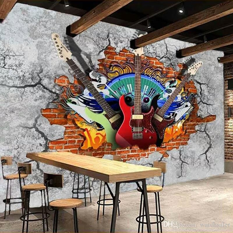 Custom 3d Murals Wallpaper Guitar Rock Graffiti Art Broken Brick