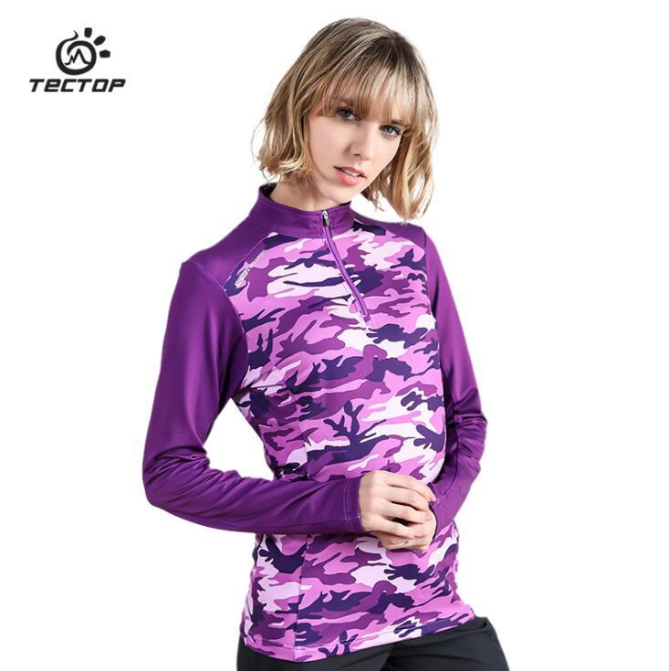 Outdoor Quick dry Tees Women Long Sleeve Half zipper autumn winter hiking Camping Climbing Breathable stretch camouflage T-shirt