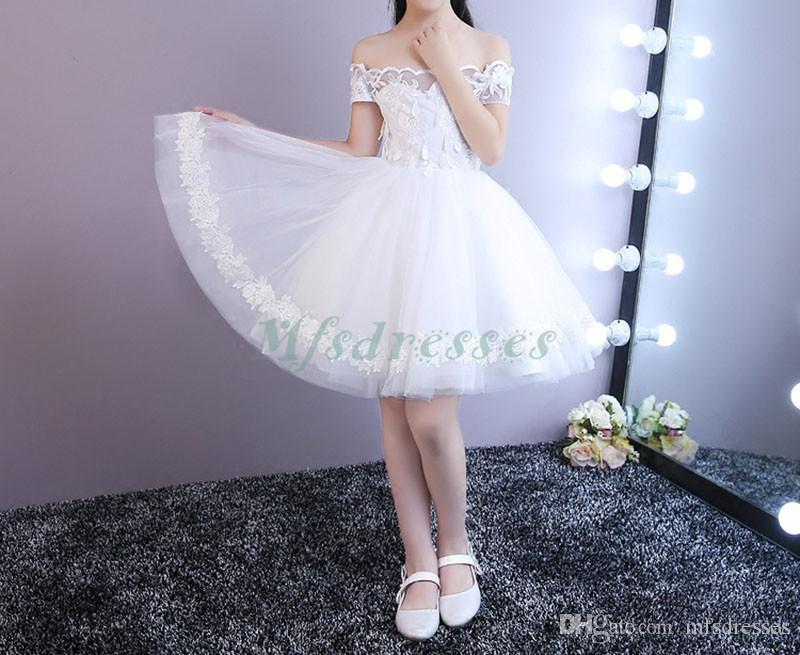 2018 Princes White longitud de la rodilla vestidos de niña de las flores Strapless Kids Formal Weeding Party Dress niñas vestido de fiesta de cumpleaños