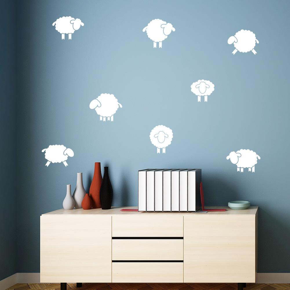Cartoon Sheep Wall Decals Nordic Style Wall Stickers Diy Cute ...