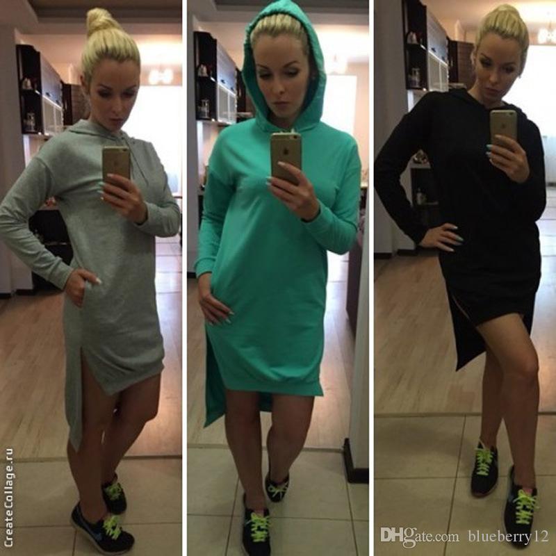 Весна новых женщин с капюшоном Привет-Lo платья с длинными рукавами девушки High Street повседневная Bodycon платья
