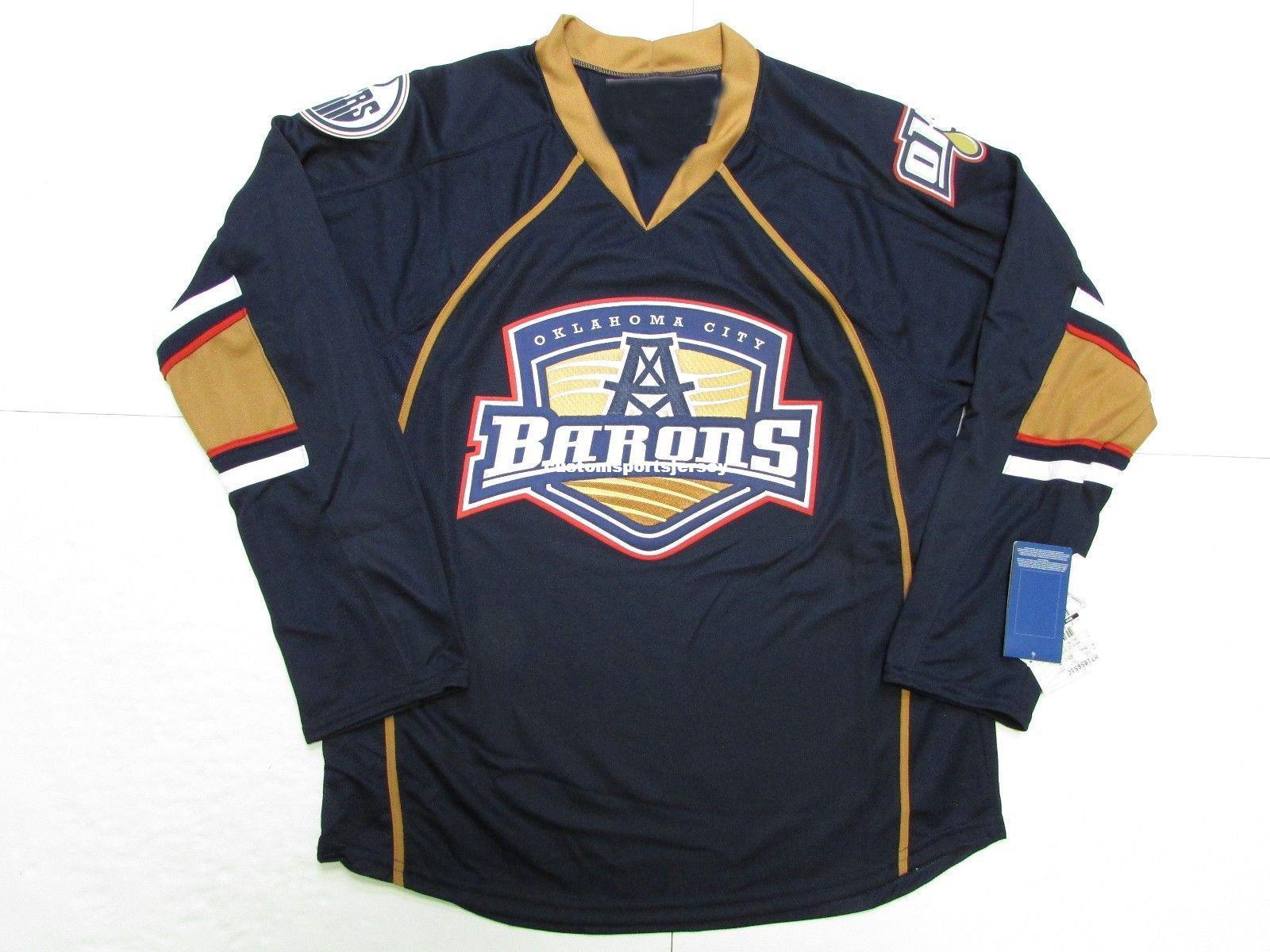 wholesale dealer 3aca7 21819 Cheap custom OKLAHOMA CITY BARONS NAVY AHL PREMIER HOCKEY JERSEY stitch add  any number any name Mens Hockey Jersey XS-5XL