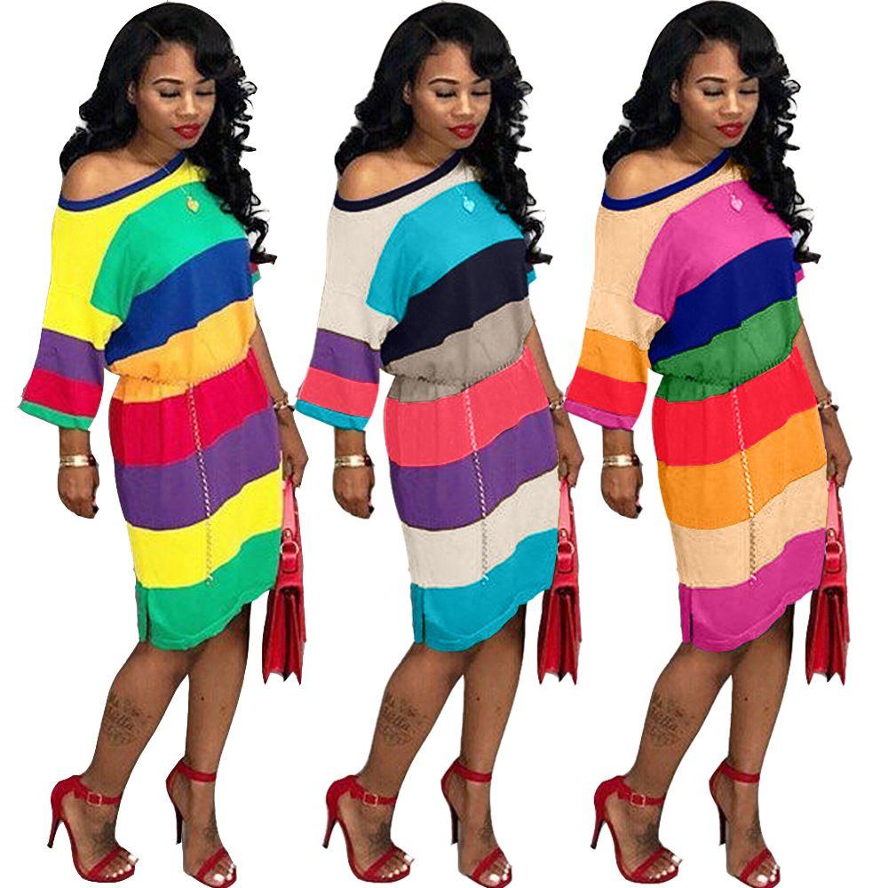 Women Dress Fashion Casual Summer Rainbow Stripe Short Sleeve Bandage Mini  Bodycon Nightclub Dresses Vestidos Plus Size