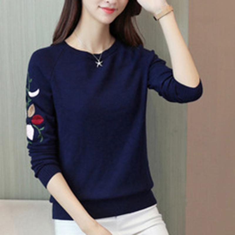 627fb83a332d 2018 Autumn Long Sleeve New Women Embroidery Knitted Winter Women Sweater  Pullover Female O-Neck Knitted Sweater Women Tops Online with  39.5 Piece on  ...