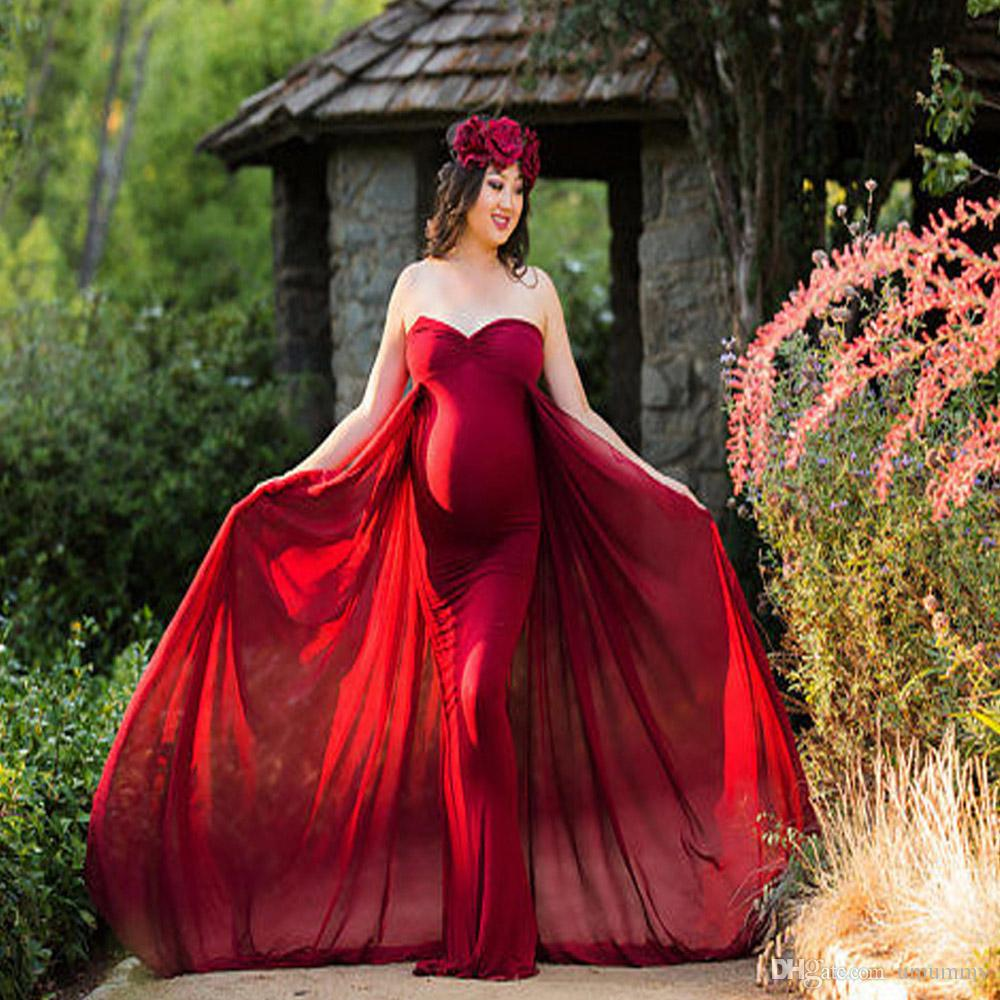 3e37af41f87 2019 Maternity Gown Off Shoulder Fitted Maxi Gown Long Maternity Tube Dress  Photography Photo Shoot