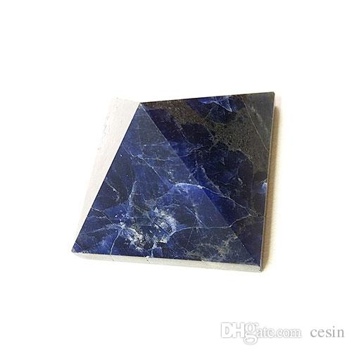 5 pz Blu Sodalite Cristallo Di Quarzo Piramide La Guarigione Energia Psichica Positiva Reiki Tumbled Pietra Home Office Regalo Quadripode Allentato Nuovo