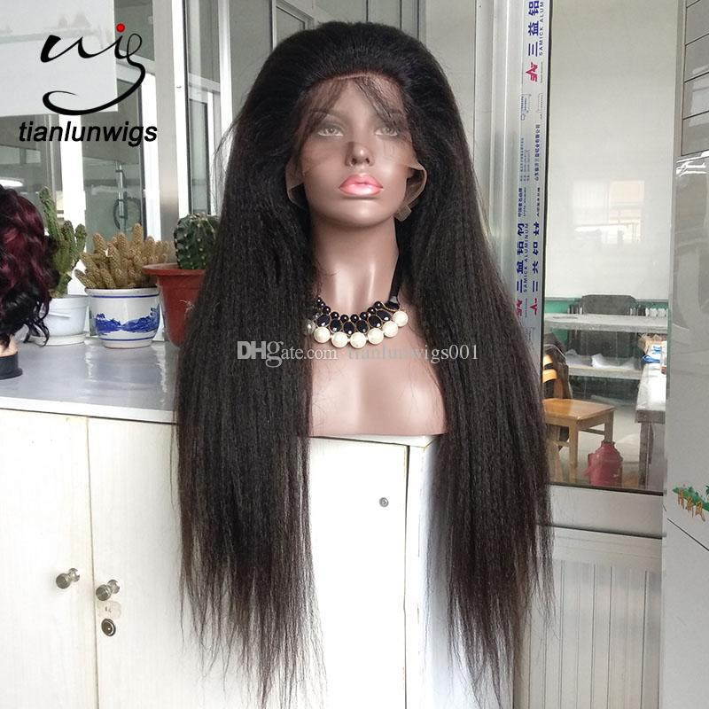 28 inch natural color heavy density coarse yaki hair full lace wig , beautifull kinky straight virgin hair lace front wig for sale
