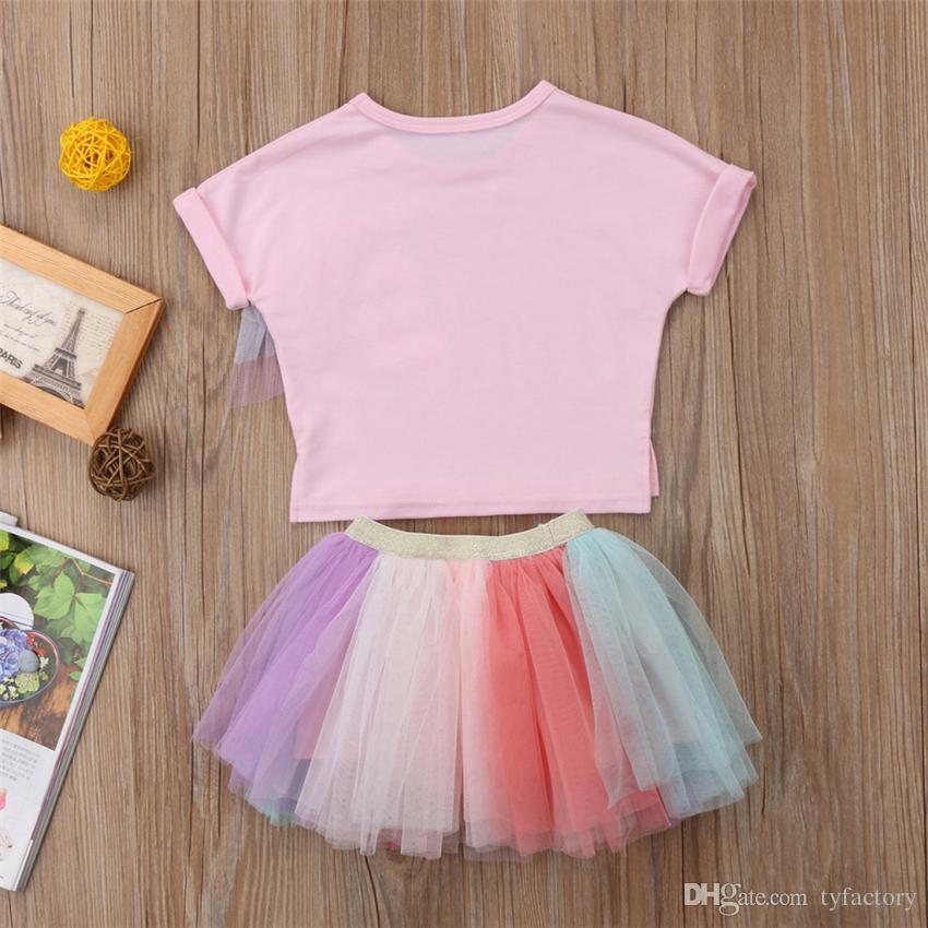 Sevimli Yaz Çocuk Kız Unicorn Pembe T-shirt Tutu Gökkuşağı Etek Elbiseler Kıyafetler Moda Bebek Giysileri Çocuk Kız Prenses Elbise Giyim