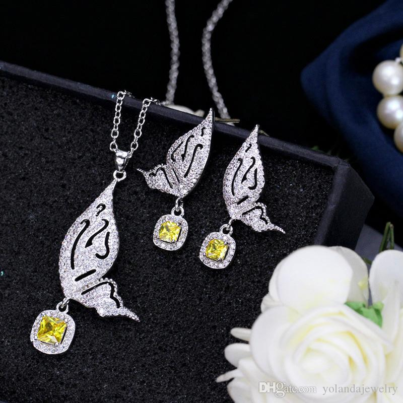 Bride Jewelry Set Top Quality White Gold Plated Blue Yellow CZ Butterfly Earrings Necklace Set for Girls Women for Party Wedding