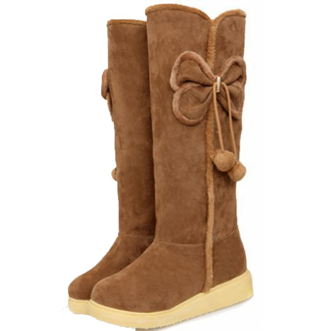 select for original hot-selling authentic arrives 2017 New Arrival Hot Sale Women Boots Brown Bowtie Slip-On Soft Cute  Knee-High Women Snow Boots Round Toe Flat with Winter Shoes