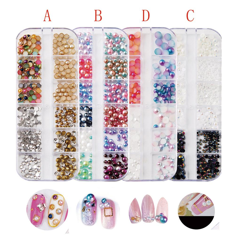 Nail Art Decoration Muticolor Nail Sequins Set Long Box Jewelry Size Semi-circular Pearl Tools C0910