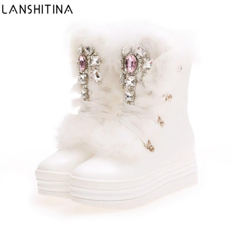 2017 Botas de invierno de piel de conejo real Diamantes de imitación Diamante Botas para la nieve Grueso caliente High-Top zapatos de mujer de gran tamaño 41 Botas de invierno