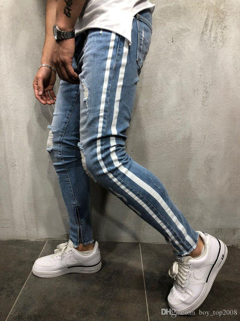 093e6f8b8bdd0 2019 SIZE S 3XL New Fashion Men S Vintage Casual Ripped Broken Hole Jeans  Denim Joggers Pants Blue Jogger Damaged Jeans Trousers From Boy top2029