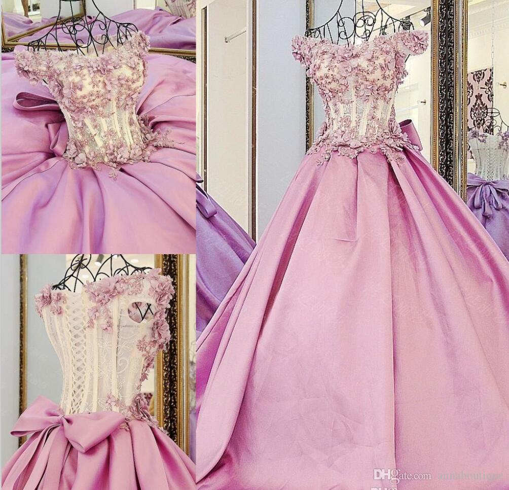 Compre Precioso Apliques De Color Rosa Mangas Casquillo Vestidos De ...