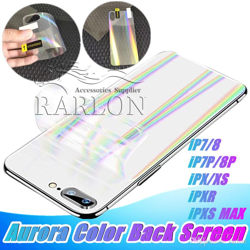 New Designer Soft Aurora Color Back Screen Protector Mobile Phone Back Film for iPhone X XS MAX XR 8 7plus Without Packaging