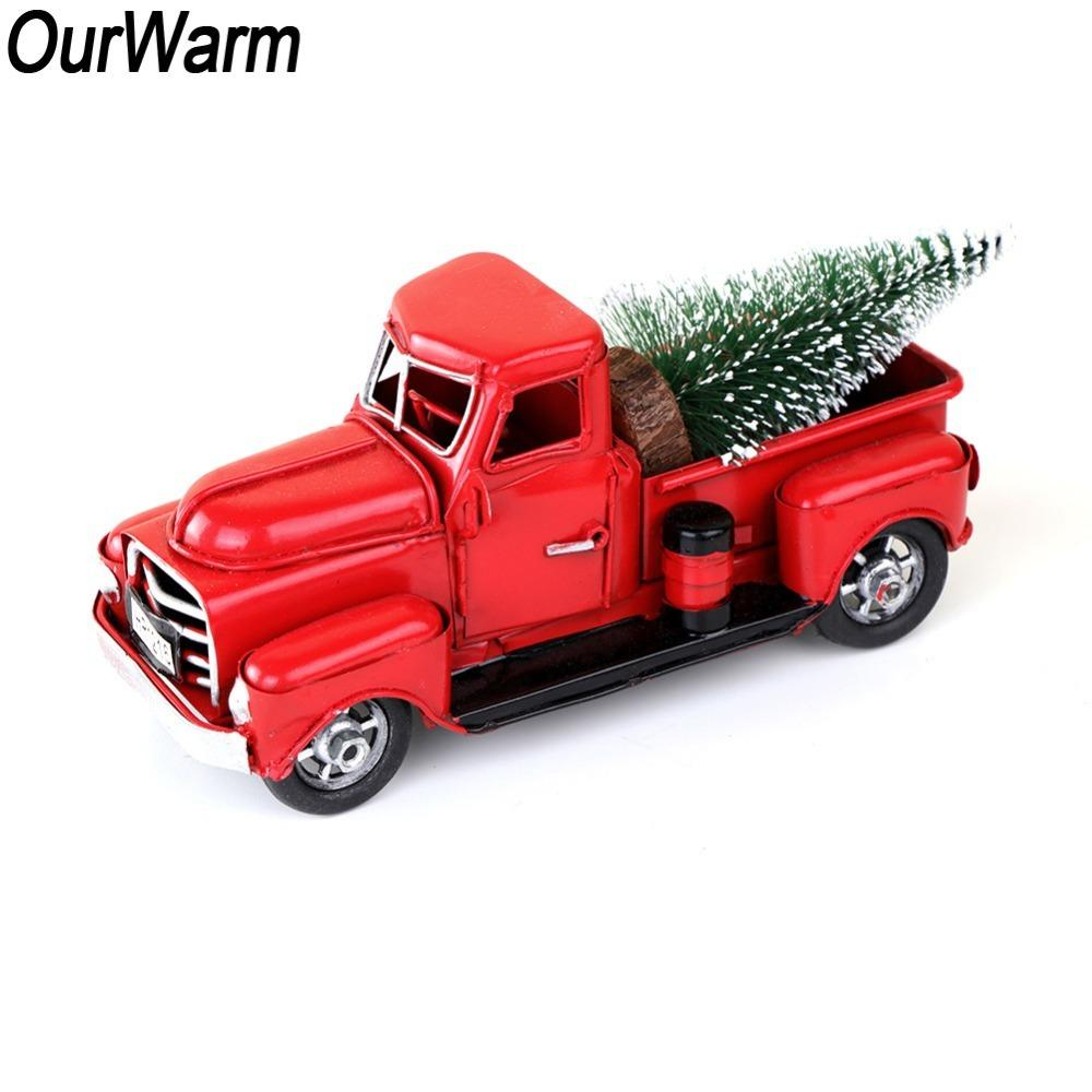 ourwarm red metal truck christmas party decoration table top decor for home kids gifts vintage truck with movable wheel y18102609 pink christmas decorations