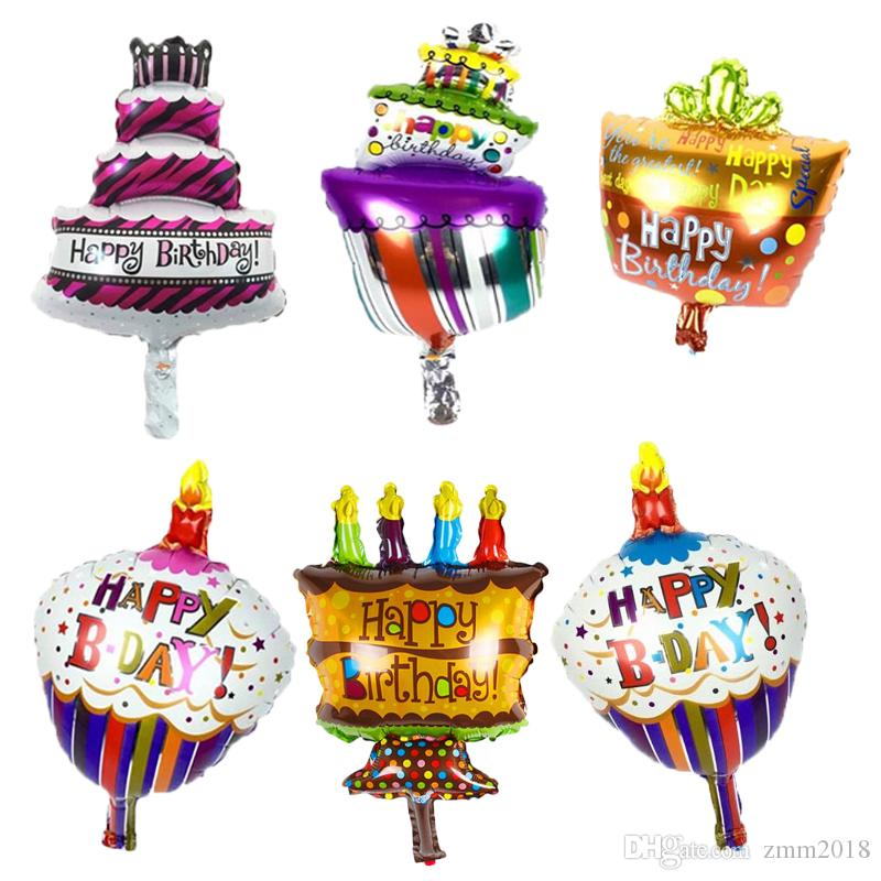 2019 16inch Mini Cake Balloon Baby Shower Boy Girl Foil Balloons Kids Happy Birthday Air Globos Party Supplies From Zmm2018
