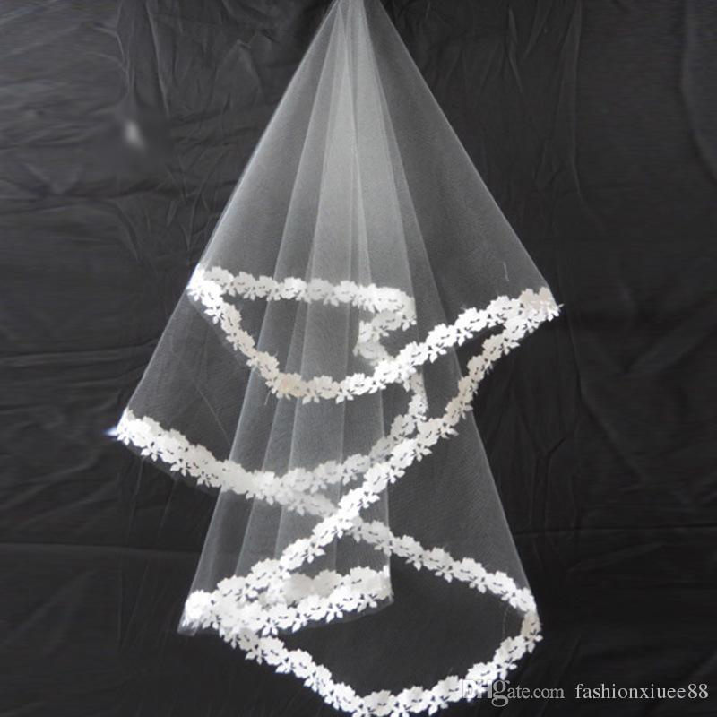 2018 nuevo velo de novia coreano Marrige nupcial blanco 1,5 metros bordado de encaje accesorios de boda al por mayor Velos De Novia
