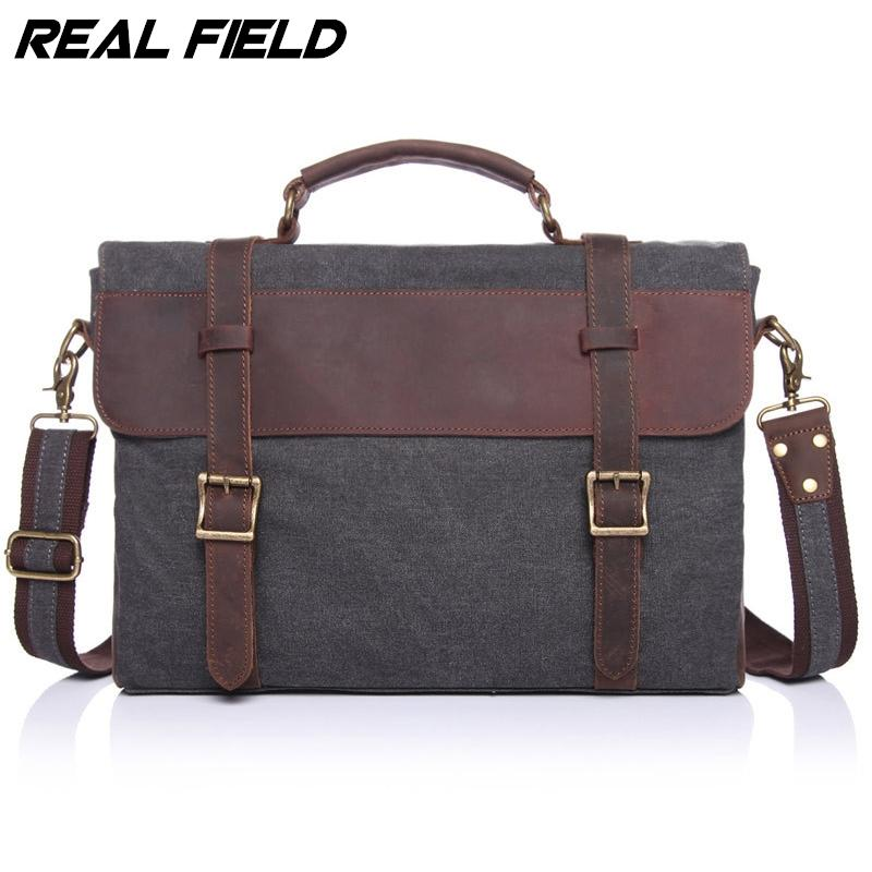 Real Field RF Men Business Messenger Bag Canvas Briefcase Retro Computer Vintage Document Crossbody Casual A4 Files Handbags 145