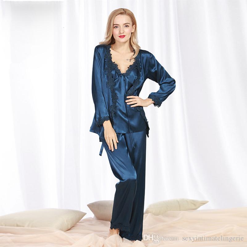 92eb0fd9fe 2019 Luxury Spring Loungewear Pajamas Set Top+Pants+Robes Satin Silk  Sleepwear Set Long Sleeve Lady Nightwear Pijama Feminino From  Sexyintimatelingerie