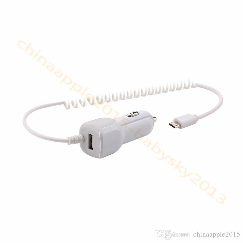 Portable 1A chargeur allume-cigare USB avec câble micro usb pour samsung galaxy s6 s7 s8 htc android téléphone gps tablet pc mp3