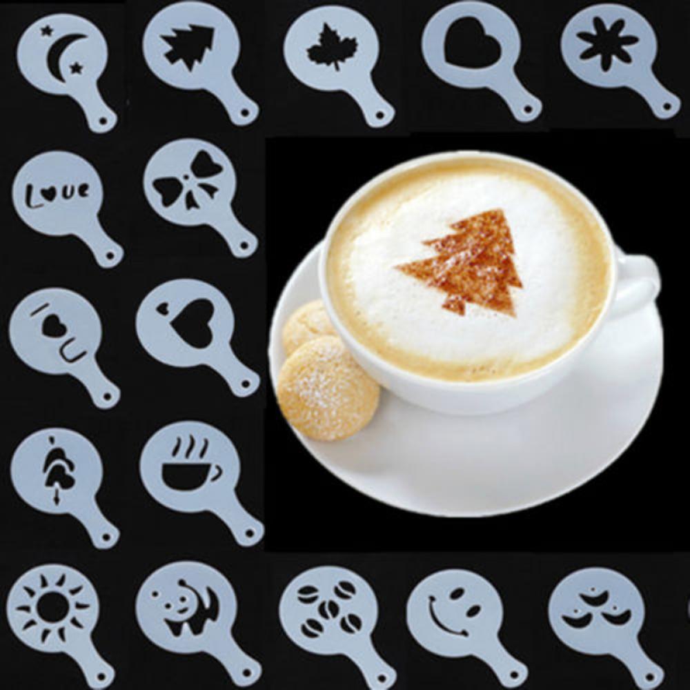 16Pcs Latte Art Stencils Modèles Cappuccino Café mousse bricolage décors Outil Gâteaux