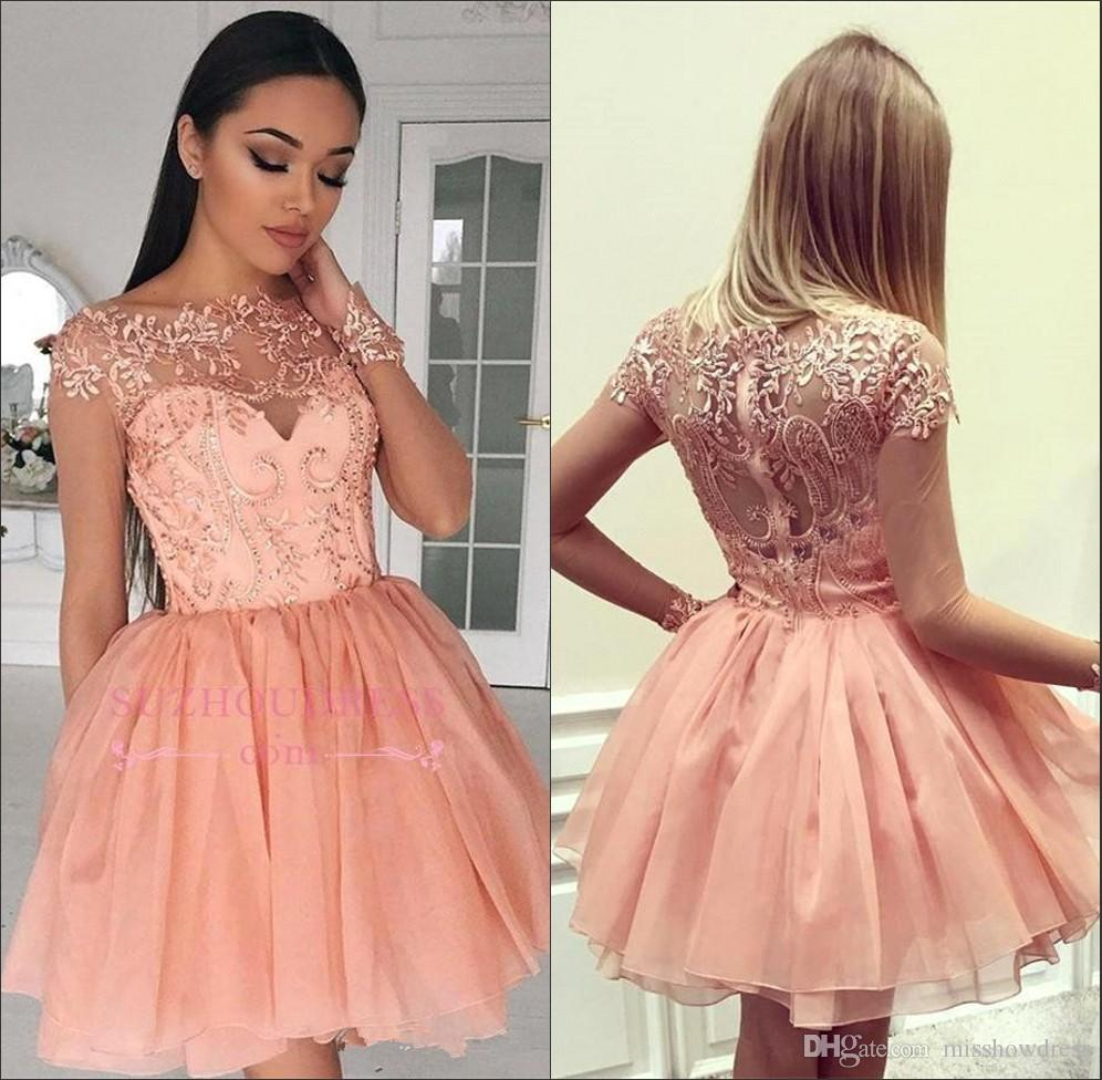 7b3182b84b4 2018 Sheer Coral Long Sleeves Lace A Line Homecoming Dresses Tulle Applique  Layered Ruffles Short Party Prom Dresses BA9193 Formal Clothing Formal Dress  ...