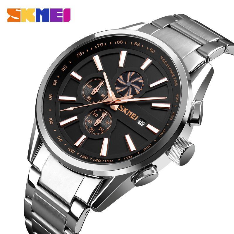 c6ea9a0a398 Compre Nova Marca De Moda De Luxo Skmei Marca Homens Relógios De Ouro Dos  Homens À Prova D  água De Aço Inoxidável Relógio De Quartzo Masculino  Relógio ...