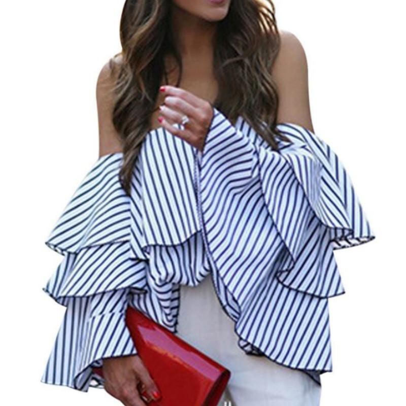 4bac73372ab 2019 Ruffle Blouse Off Shoulder Ladies Summer Tops 2019 Womens Causal Striped  Shirts Flare Sleeve Blusas Mujer Tunic Tops Femme From Illusory01