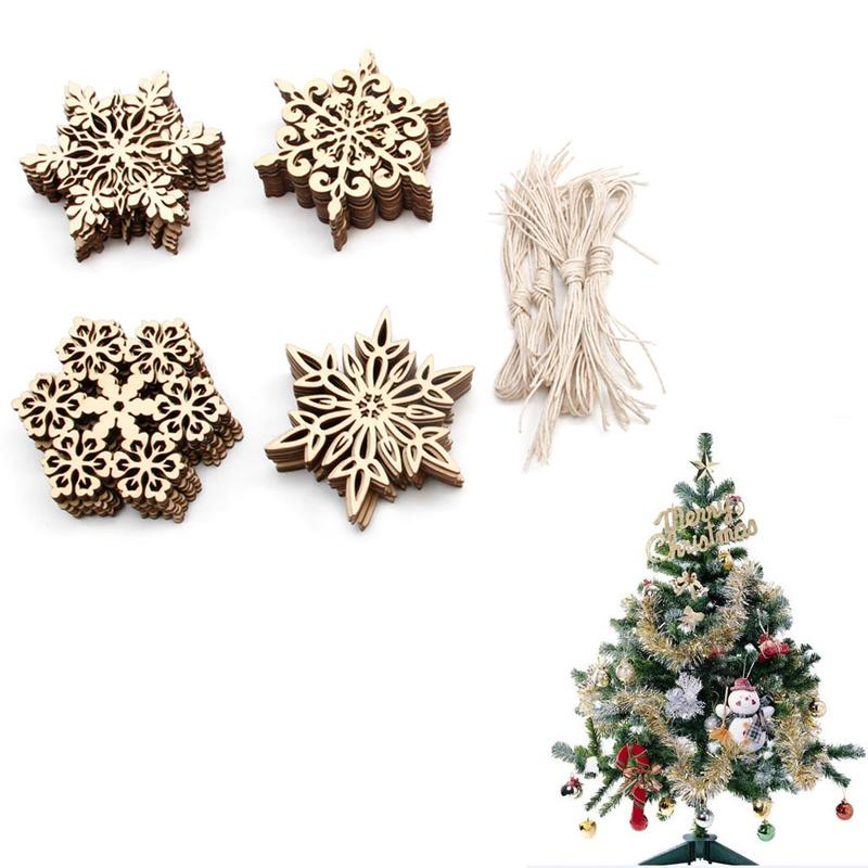 10pcs Lot Wood Snowflake Embellishments Rustic Christmas Decorations For Home Xmas Tree Hanging Ornament Navidad Decor