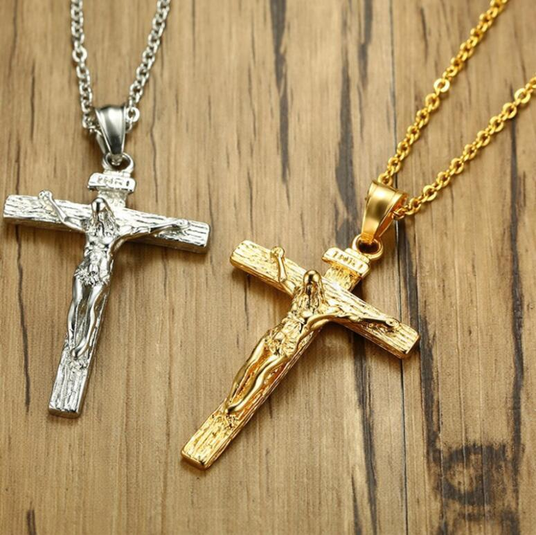 56772c4f687df Wholesale Christ Jesus Cross Necklace For Men Gold Silver Stainless Steel  Cross Chain Men S Pendant Jewelry Family Pendant Necklace Small Pendant  Necklaces ...