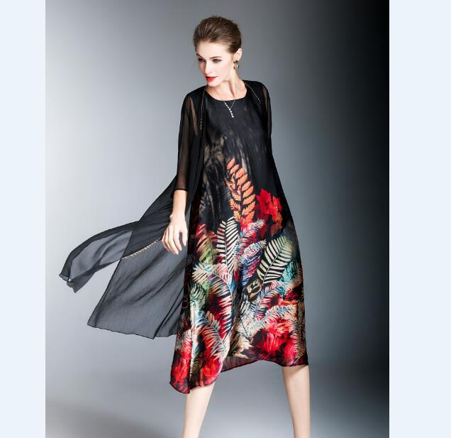 1f0478c692325f 2018 New summer fashion women's floral printed twin sets silk dress two  pieces ladies chiffon dress with cardigan outwear